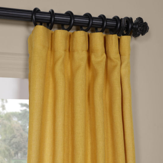 Exclusive Fabrics & Furnishing Faux Linen Sheer Rod-Pocket/Back-Tab Curtain Panel