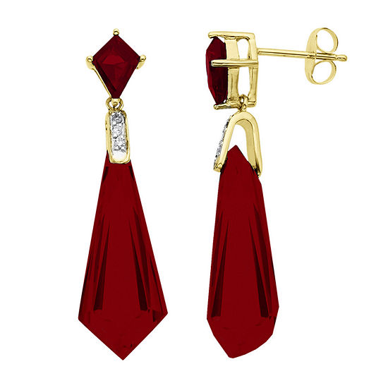 Lab-Created Ruby 14K Gold Over Sterling Silver Earrings