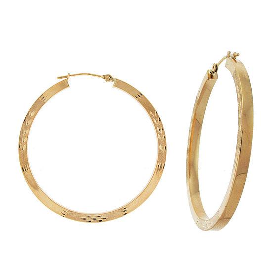10K Yellow Gold 38mm Square-Tubed Hoop Earrings