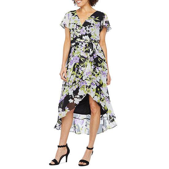 R & K Originals Short Sleeve Floral Maxi Dress