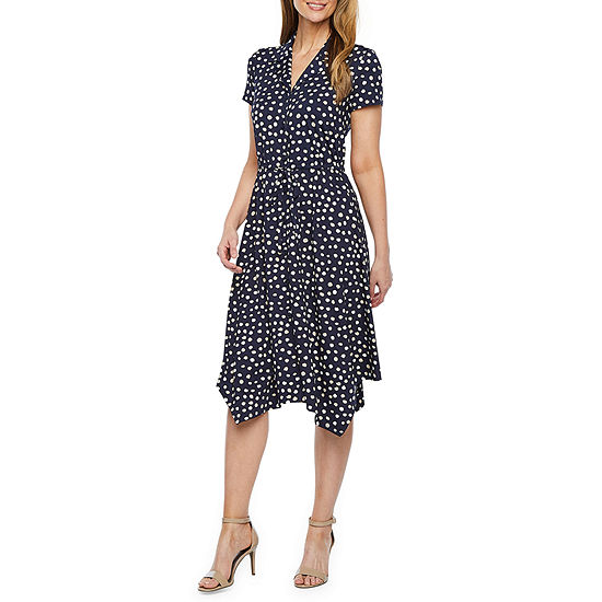 Perceptions Short Sleeve Dot Print Shirt Dress