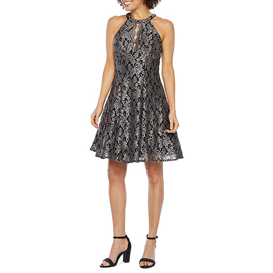 R M Richards Sleeveless Halter Lace Sheath Dress