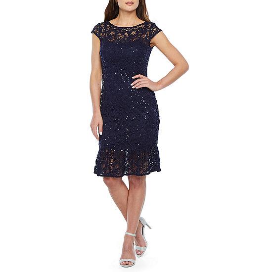 Blu Sage Short Sleeve Sequin Lace Sheath Dress