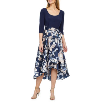 R & M Richards 3/4 Sleeve Floral High Low Gown