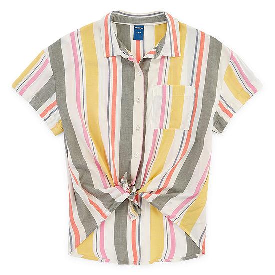 Arizona Girls Short Sleeve Button-Front Shirt Preschool / Big Kid