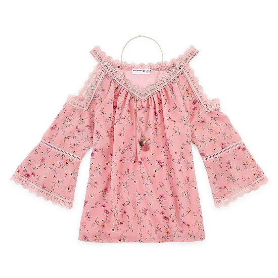 Knit Works Little & Big Girls Scoop Neck 3/4 Sleeve Lace Trim Blouse