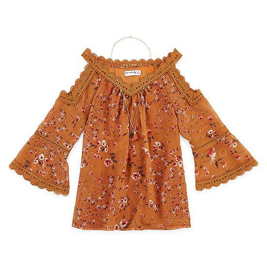 Knit Works Girls Scoop Neck 3/4 Sleeve Lace Trim Blouse Preschool / Big Kid