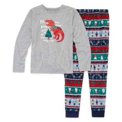 North Pole Trading Co. Fun Fairisle Family Boys 2-pc. Pant Pajama Set Preschool / Big Kid