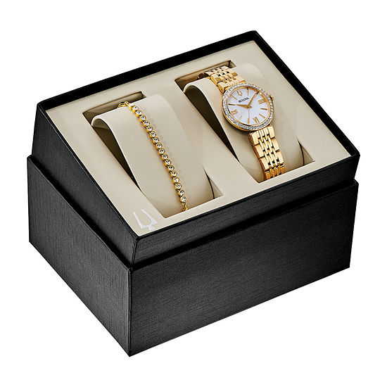 Bulova Womens Gold Tone Stainless Steel Watch Boxed Set-98x122