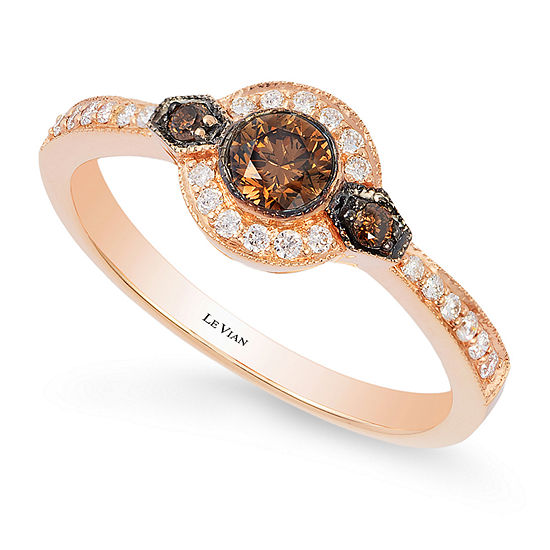 Levian Corp Womens 3/8 CT. T.W. Genuine Multi Color Diamond 14K Rose Gold Round Cocktail Ring