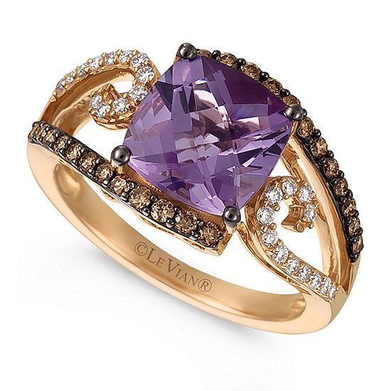 Le Vian Grand Sample Sale™ Ring featuring Grape Amethyst™, Chocolate Diamonds®, & Vanilla Diamonds® set in 14K Strawberry Gold®