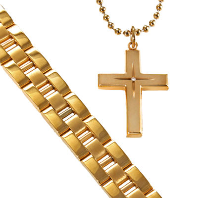 Men's Gold-Plated Stainless Steel Cross & Bracelet in Valet Box