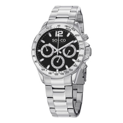 SO & CO NY Mens Monticello Stainless Steel Bracelet Black Dial Sport Quartz Watch J150P52