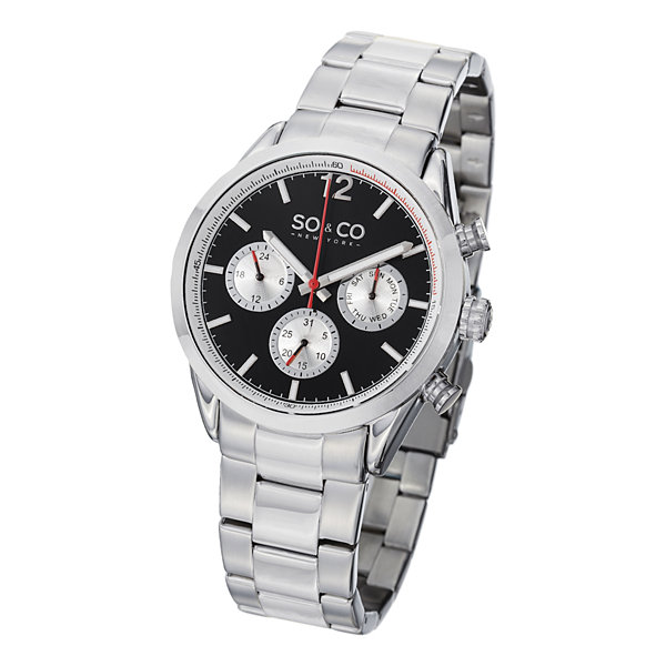 SO & CO NY Mens Monticello Stainless Steel Bracelet Sport Quartz Watch J151P49
