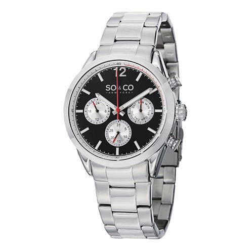 SO & CO NY Mens Monticello Stainless Steel Bracelet Sport Quartz Watch J151P49