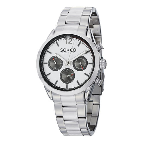 SO & CO NY Mens Monticello Stainless Steel Bracelet Sport Quartz Watch J151P50