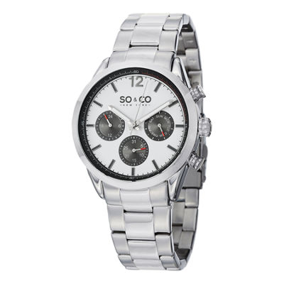 SO & CO NY Mens Monticello Stainless Steel Bracelet Sport Quartz Watch J151P50
