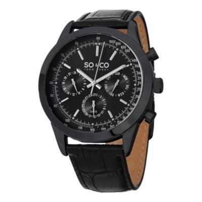 SO & CO NY Mens Monticello Leather Sport Quartz Watch J152P17