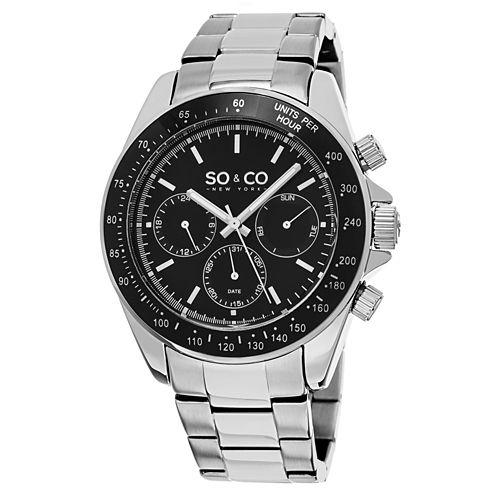 SO & CO NY Mens Monticello Stainless Steel Bracelet Sport Quartz Watch J150P64