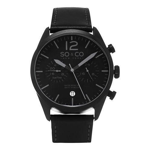 SO & CO NY Mens Monticello Leather Sport Quartz Dual Time Watch J154P51