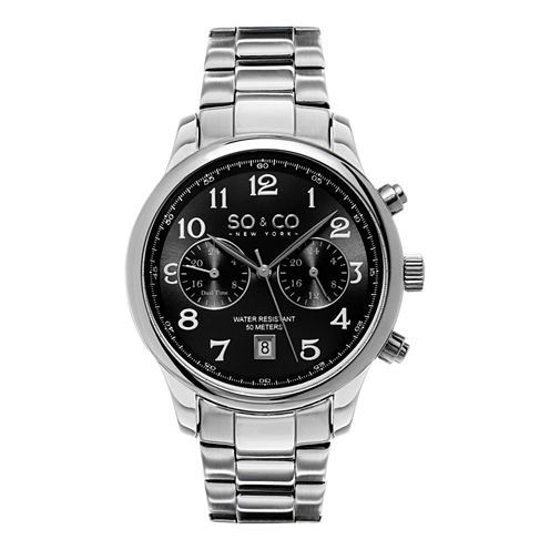SO & CO NY Mens Monticello Stainless Steel Bracelet Dress Quartz Dual Time Watch J154P54