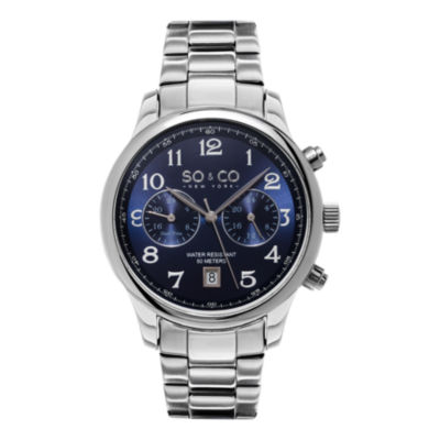 SO & CO NY Mens Monticello Stainless Steel Bracelet Blue Dial Dress Quartz Dual Time Watch J154P55