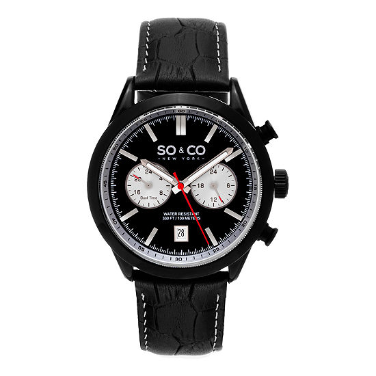 SO & CO NY Mens Monticello Alligator Embossed Genuine Leather Strap With White Contrast Stitching Sport Quartz Watch J154P77