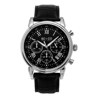 SO & CO NY Mens Monticello Chronograph Leather Strap Dress Quartz Watch J154P82
