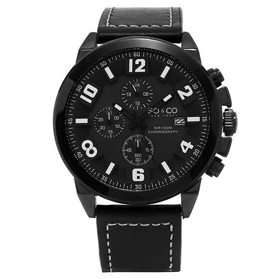 SO & CO NY Mens Monticello Chronograph Black Genuine Leather Strap Sport Quartz Watch J159P43