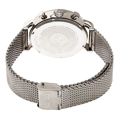 SO & CO Ny Men'S Monticello Chronograph Stainless Steel Mesh Bracelet Dress Quartz Watch J160P91