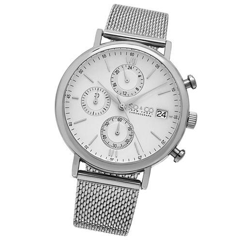 SO & CO Ny Men'S Monticello Chronograph Stainless Steel Mesh Bracelet Dress Quartz Watch J160P91