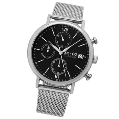 SO & CO Ny Men'S Monticello Chronograph Stainless Steel Mesh Bracelet Black Dial Dress Quartz Watch J160P92