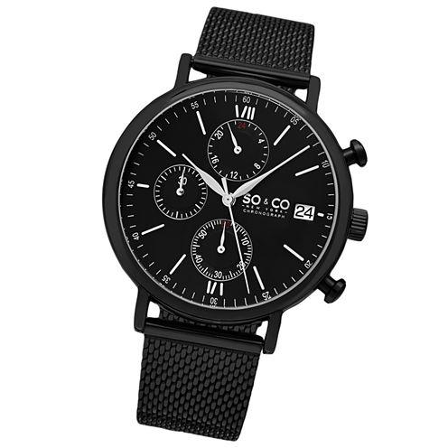 SO & CO Ny Men'S Monticello Chronograph Black Stainless Steel Mesh Bracelet Black Dial Dress Quartz Watch J160P93