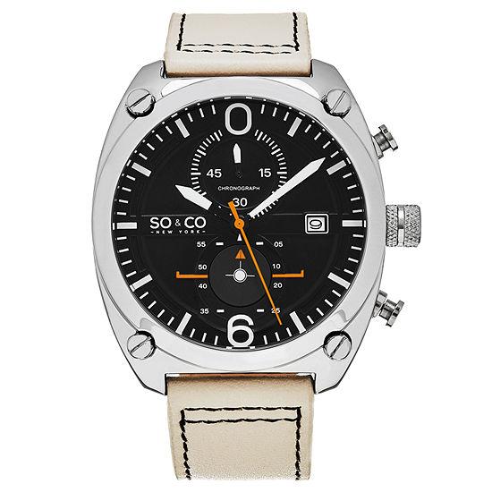 SO & CO Ny Men'S Aviator Style Chronograph Leather Strap Sport Quartz Watch J161P14