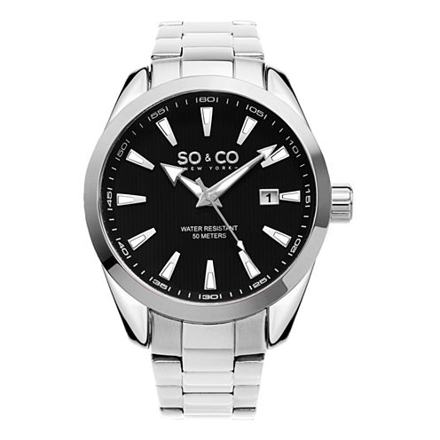 SO & CO Ny Men'S Madison Stainless Steel Bracelet Dress Quartz Date Watch J154P14