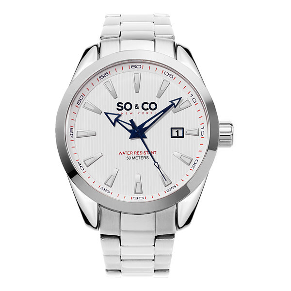 SO & CO Ny Men'S Madison Stainless Steel Bracelet Dress Quartz Date Watch J154P16
