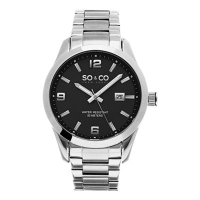 SO & CO Ny Men's Madison Stainless Steel Bracelet Dress Quartz Water Resistant Watch J154P65