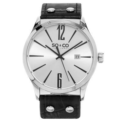 SO & CO Ny Men's Classic Madison Leather Dress Quartz Watch J158P99