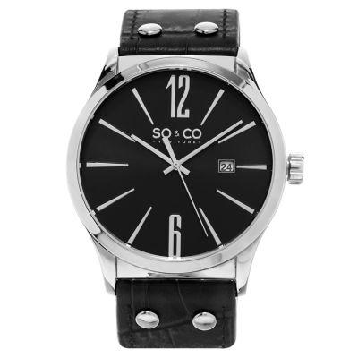 SO & CO Ny Men's Madison Leather Dress Quartz Watch J159P0