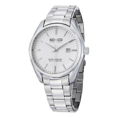 SO & CO Ny Men's Madison Silver Stainless Steel Bracelet Dress Quartz Watch J150P76