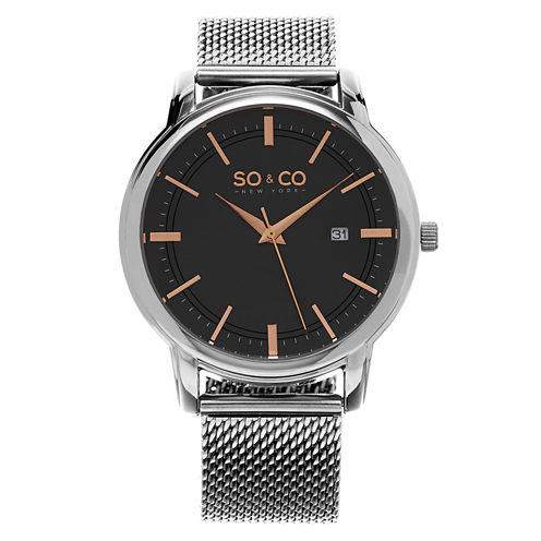 SO & CO NY Mens Madison Stainless Steel Bracelet Rose-Tone Accented Dial Dress Quartz Watch J159P31