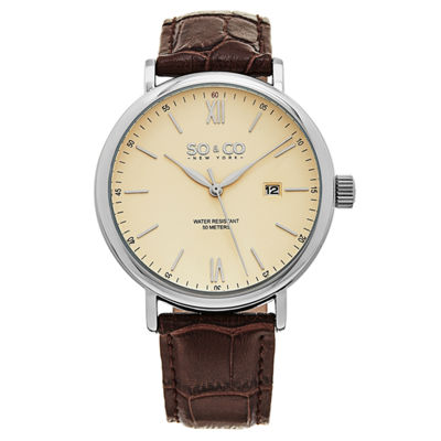 SO & CO NY Mens Madison Date Leather Strap Dress Quartz Watch J160P95