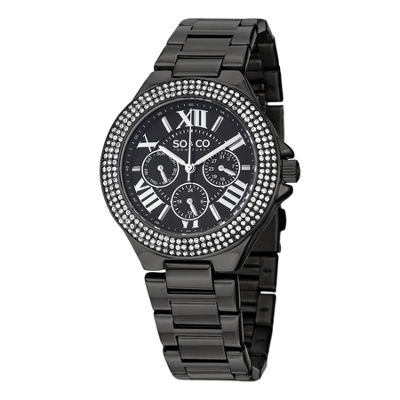 SO & CO NY Womens Madison Black Stainless Steel Bracelet Black Pvd Bezel Filled With Crystals Dress Quartz Watch J151P96
