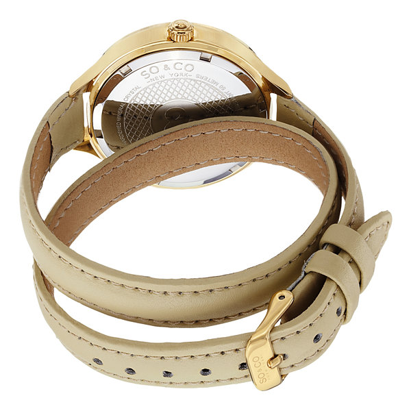 SO & CO NY Womens Madison Champagne Double Wrap Genuine Leather Strap Gold-Tone Quartz Watch J152P09