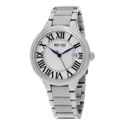 SO & CO NY Womens Madison Stainless Steel Polished Bracelet Dress Quartz Watch J154P68
