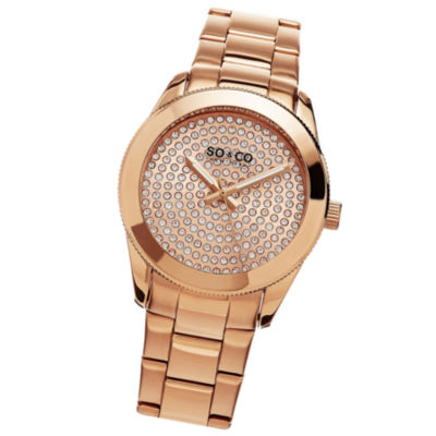SO & CO Ny Women'S Madison Stainless Steel Bracelet Gold Tone Crystal Filled Dial Dress Quartz Watch J155P49