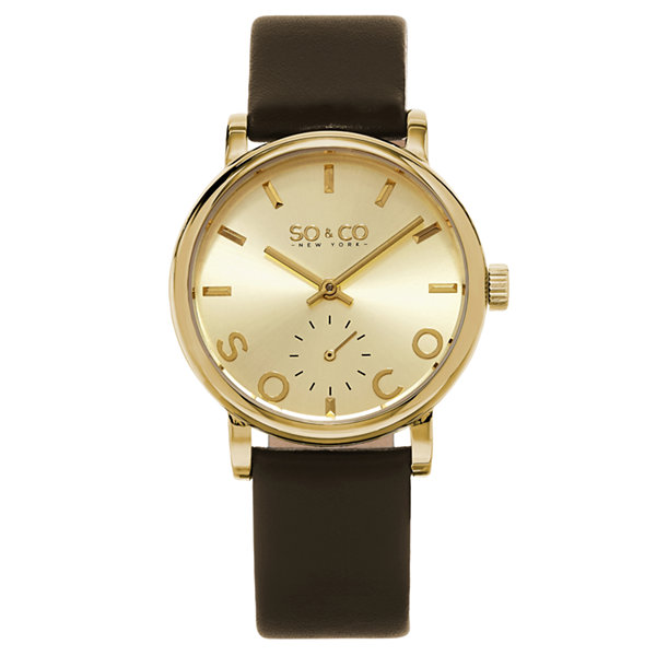 SO & CO NY Womens Madison Leather Casual Gold-Tone Dial With Seconds Subdial Quartz Watch J158P69