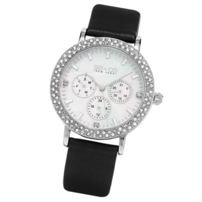 SO & CO NY Womens Madison Leather Casual Mother Of Pearl & Crystal Day And Date Quartz Watch J159P60