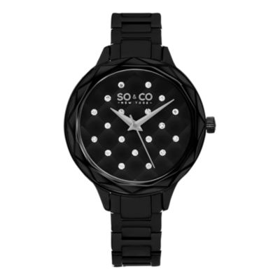 SO & CO Ny Women'S Black Dial Faceted Crystal Quilted With Scattered Crystals Black Link Bracelet Dress Quartz Watch J160P79