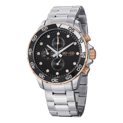 SO & CO Ny Men'S Yacht Club Stainless Steel Bracelet With Unidirectional Ratcheting Bezel Sport Quartz Watch J150P58